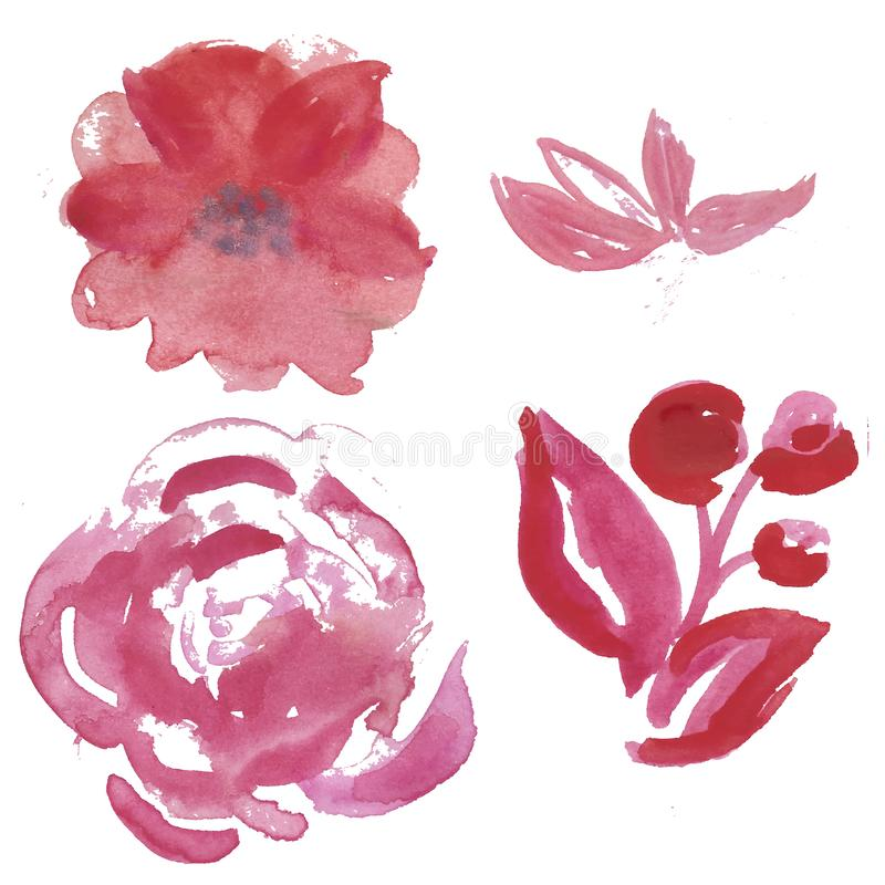 Free Watercolor Set Of Light Pink And Lilac Garden Flowers: Rose. Anemona Stock Photos - 125982803