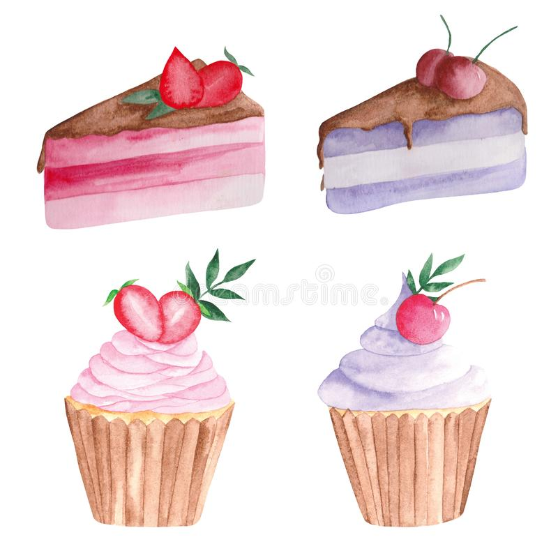 Watercolor set of a piece of cake with strawberries and cherries on a white background. stock illustration