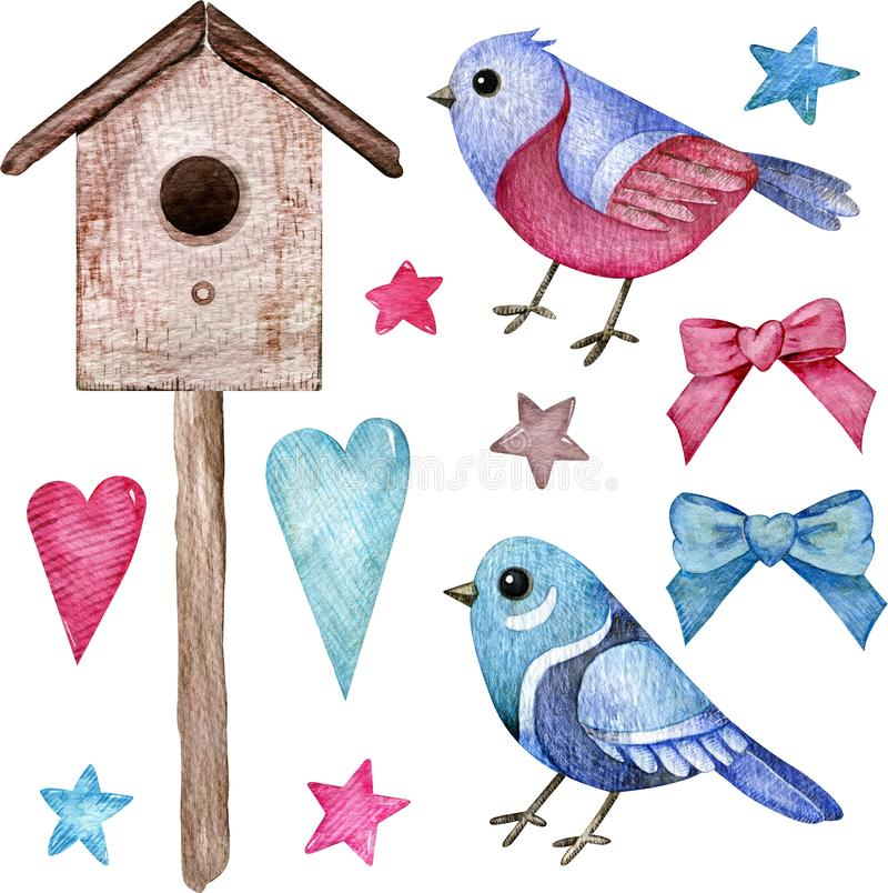 Watercolor set of pink and blue birds with a birdhouse, hearts, stars, and bows. Hand-drawn clipart. vector illustration