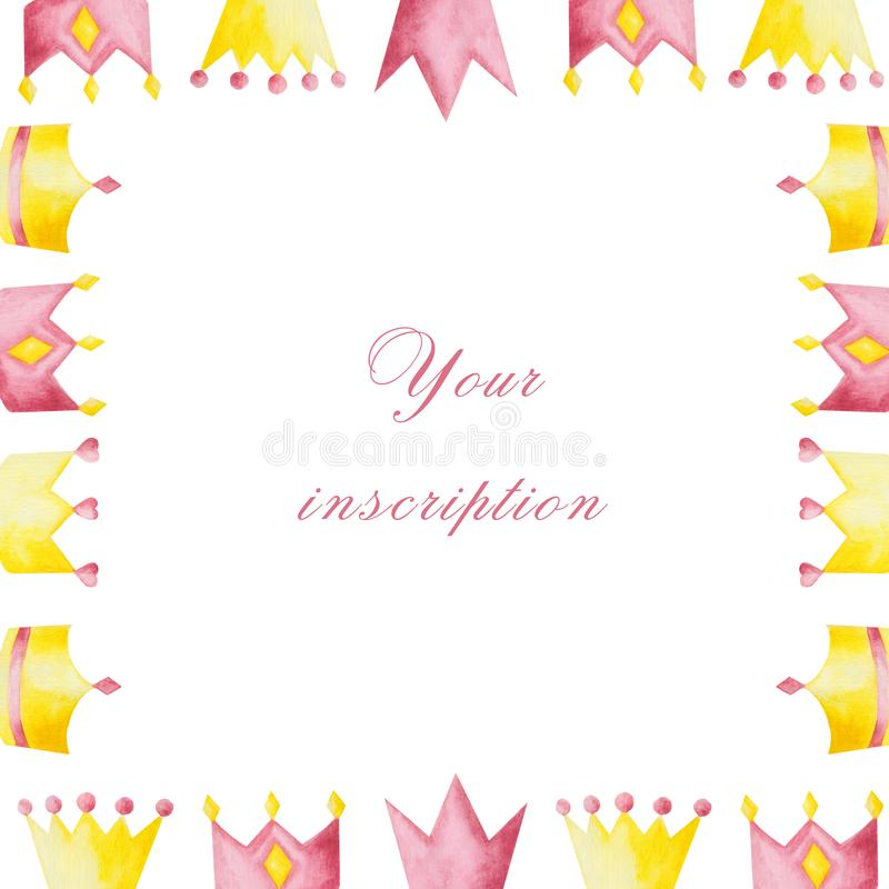Watercolor set with pink and yellow crowns on white background. Ideal for cards and invitations royalty free illustration