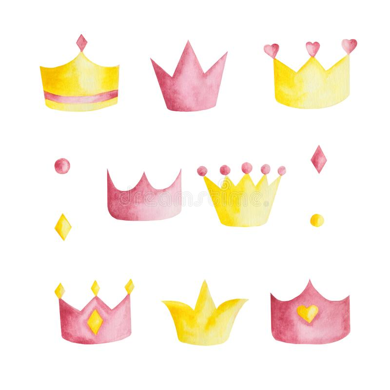 Watercolor set with pink and yellow crowns on white background. Watercolor set with pink and yellow crowns on a white background. Ideal for cards and vector illustration
