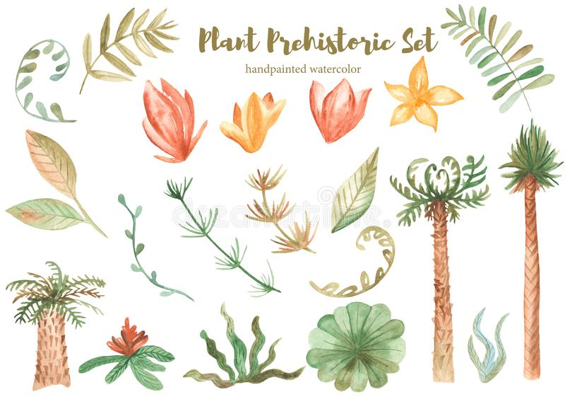Watercolor set of prehistoric plants. royalty free illustration