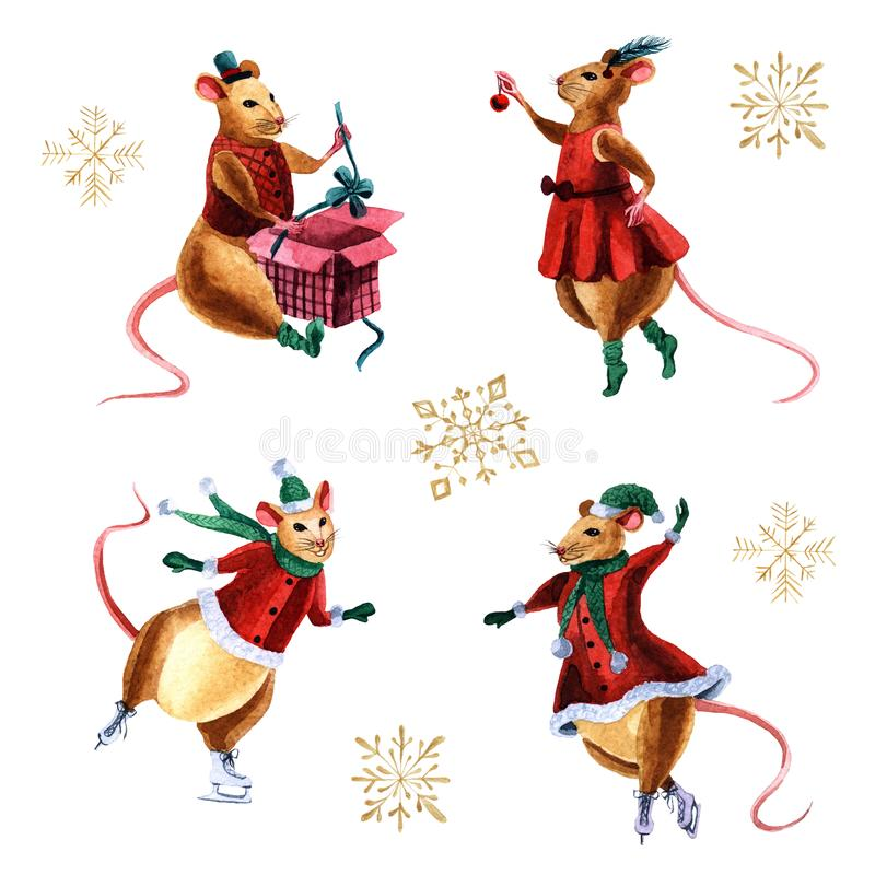Watercolor set of pretty Christmas mouses, a symbol of 2020 stock illustration