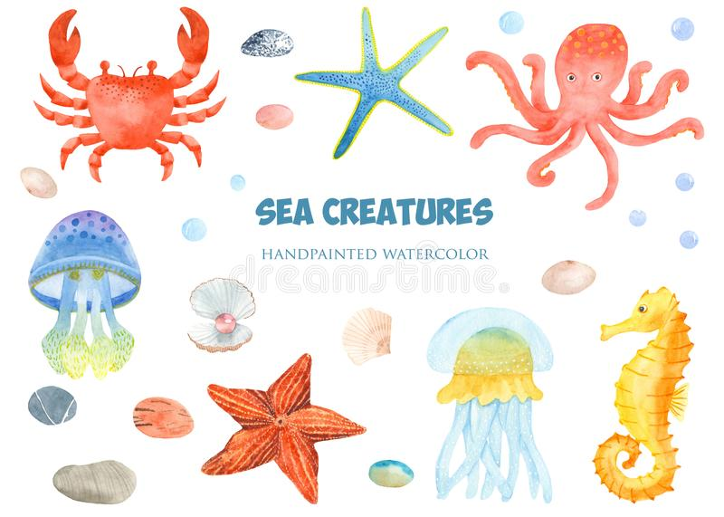 Watercolor set of sea creatures. vector illustration