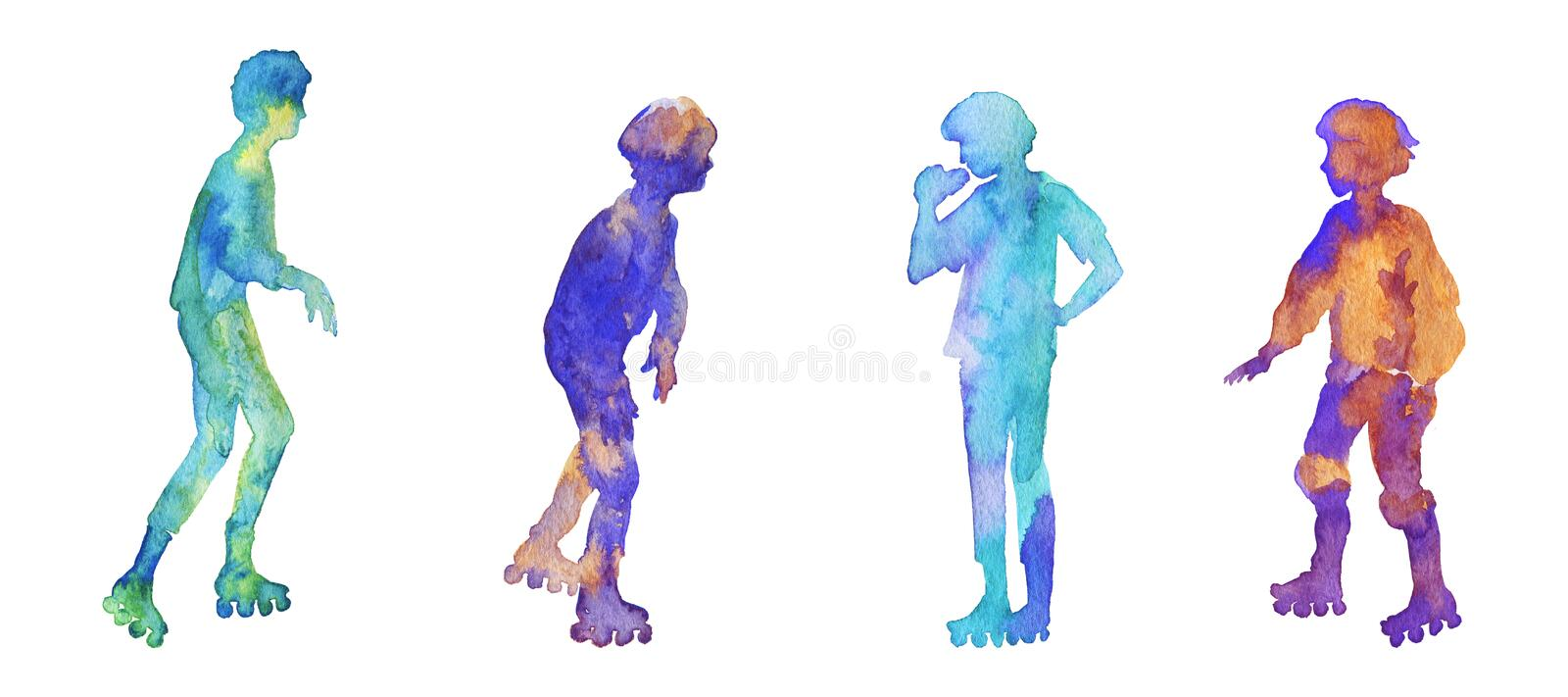 Watercolor set of silhouettes. Watercolor roller skates silhouettes. Hand drawn teenagers on the rink. Painting set of abstract kids, isolated illustration on stock image