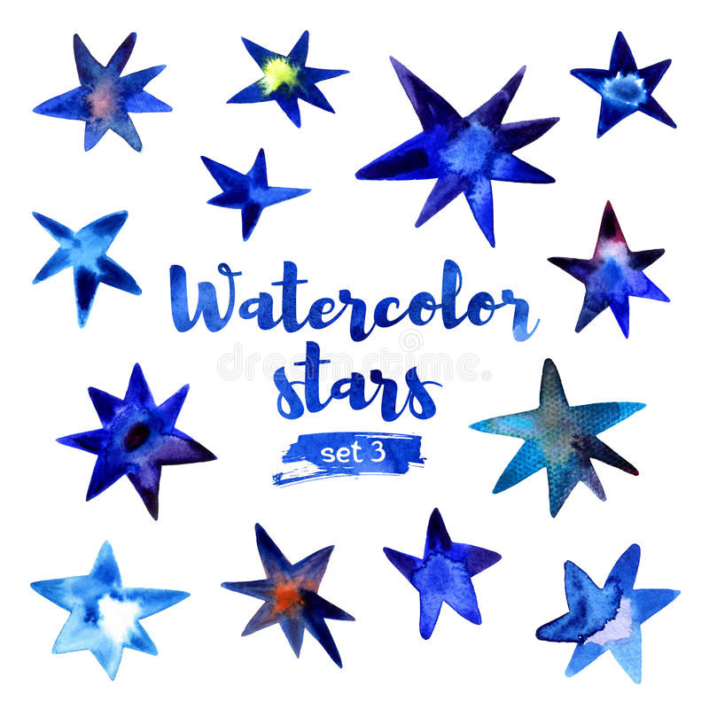 Watercolor set of stars. Drawn watercolor stars. Set number 3 on a white background stock illustration