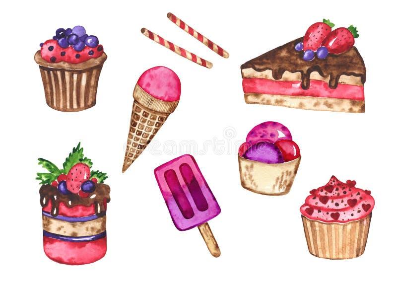 Watercolor set of tasty desserts. Sweet desserts. Watercolor hand drawn illustration stock illustration