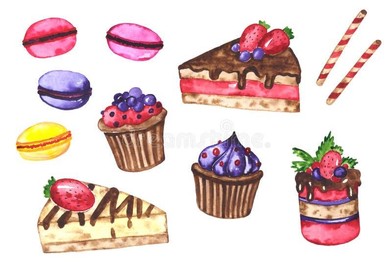 Watercolor set of tasty desserts. Sweet desserts. Watercolor hand drawn illustration royalty free illustration