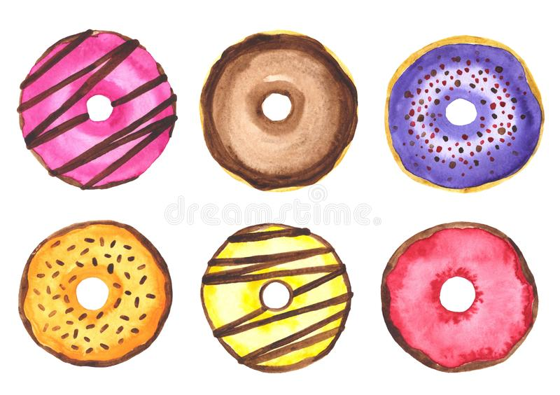 Watercolor set of tasty donuts. Sweet desserts. Watercolor hand drawn illustration vector illustration