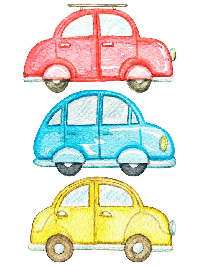 Watercolor set with three colored cars. Set with three cute cars isolated on white background. Watercolor hand painted illustration stock illustration