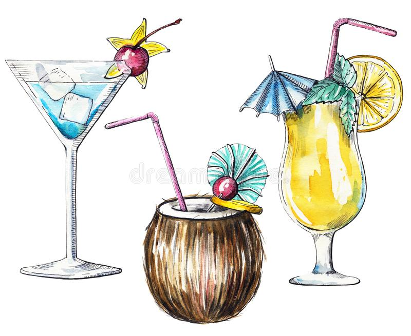 Watercolor set with three tropical cocktails. Set with blue, orange and coconut cocktails on white background. Watercolor hand drawn illustration stock illustration
