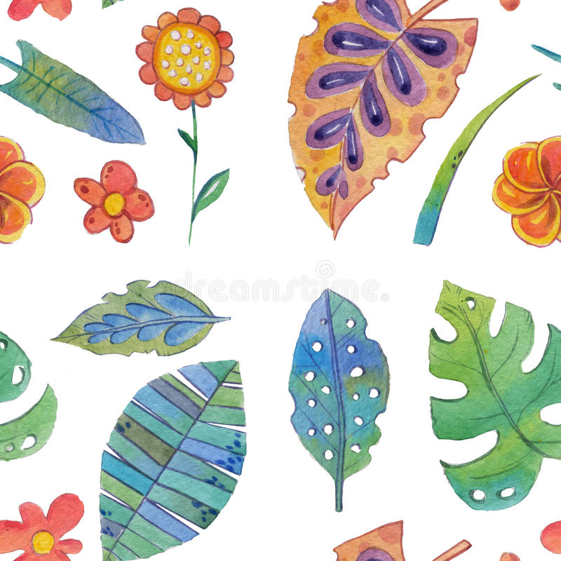 Watercolor set with tropical plants. Hand drawn image stock illustration