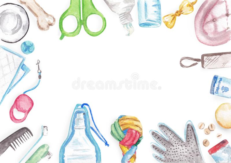Watercolor set of various dog tools  on white background with clipping path and copy space. Pet care or pet salon concept. Hand drawn watercolor set of dog vector illustration