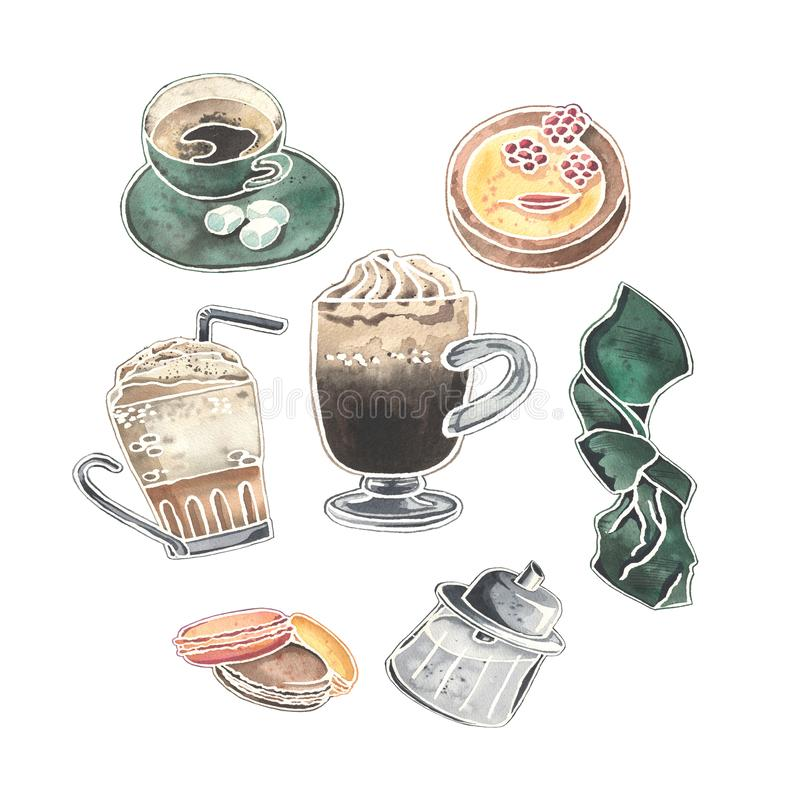 Watercolor set of Viennese coffee glasses, desserts, sugar bowl and cute cup of coffee. vector illustration