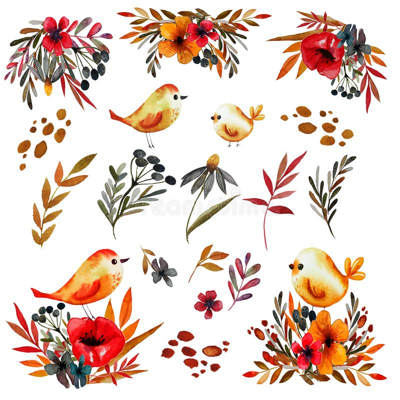 Watercolor set with vintage flowers and birds royalty free illustration