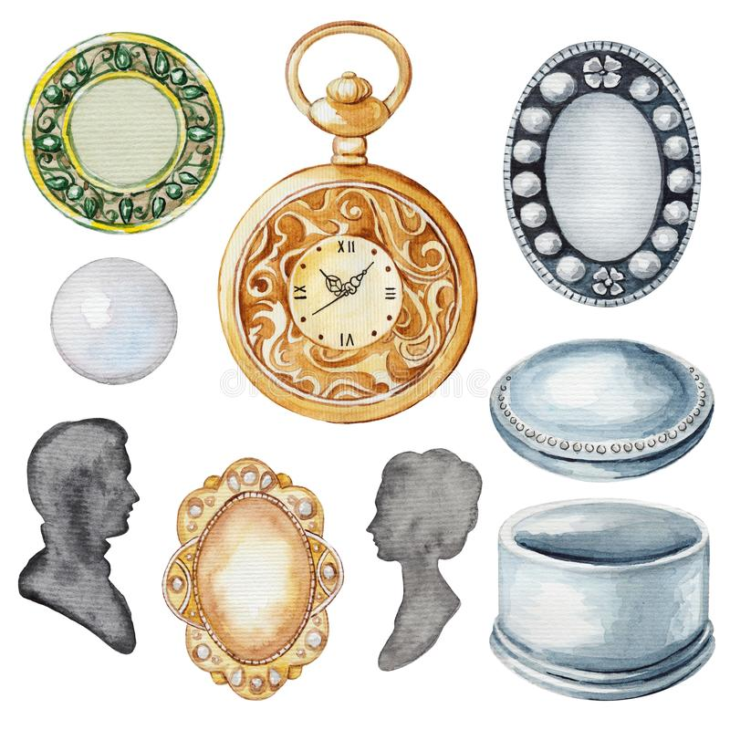 Watercolor set with vintage subjects and elements. Vintage set with casket, silhouettes, brooches, pearl and clock. Watercolor hand drawn illustration vector illustration