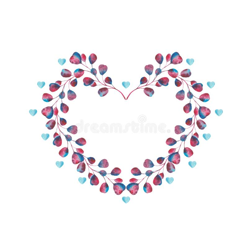 Watercolor set  with violet, pink, blue leaves and hearts. Watercolor set with violet, pink, blue leaves and hearts. Frames for Valentine`s Day. Wreaths with royalty free stock photography