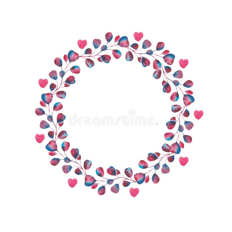 Watercolor set with violet, pink, blue leaves and hearts. Frames for Valentine`s Day. Wreaths with purple leaves and hearts. Ideal for invitations and greeting stock photography