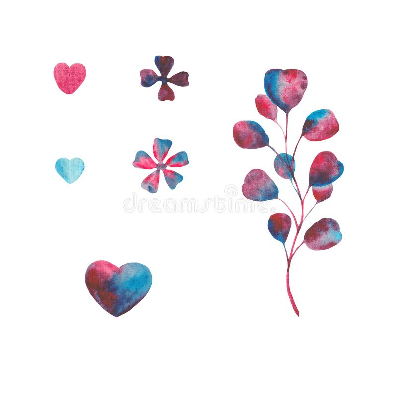 Watercolor set with violet, pink, blue leaves and hearts. Frames for Valentine`s Day. Wreaths with purple leaves and hearts. Ideal for invitations and greeting stock photos