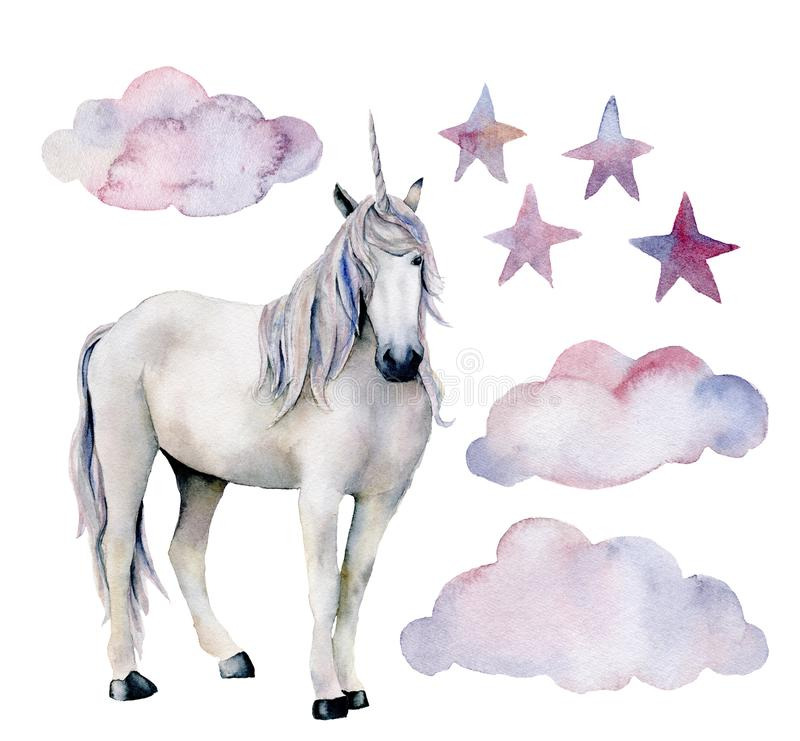 Watercolor set with white unicorn. Hand painted magic horse, clouds and stars isolated on white background. Fairytale. Character illustration design, fabric stock illustration