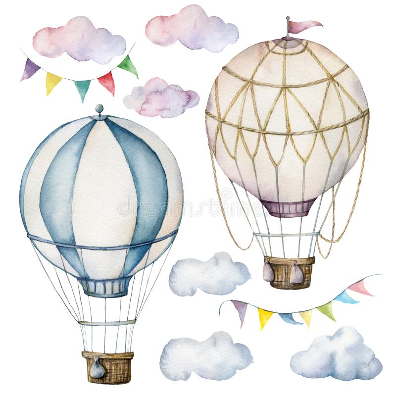 Free Watercolor Set With Hot Air Balloons And Garland. Hand Painted Sky Illustration With Aerostate, Clouds And Flags Stock Photo - 147509550