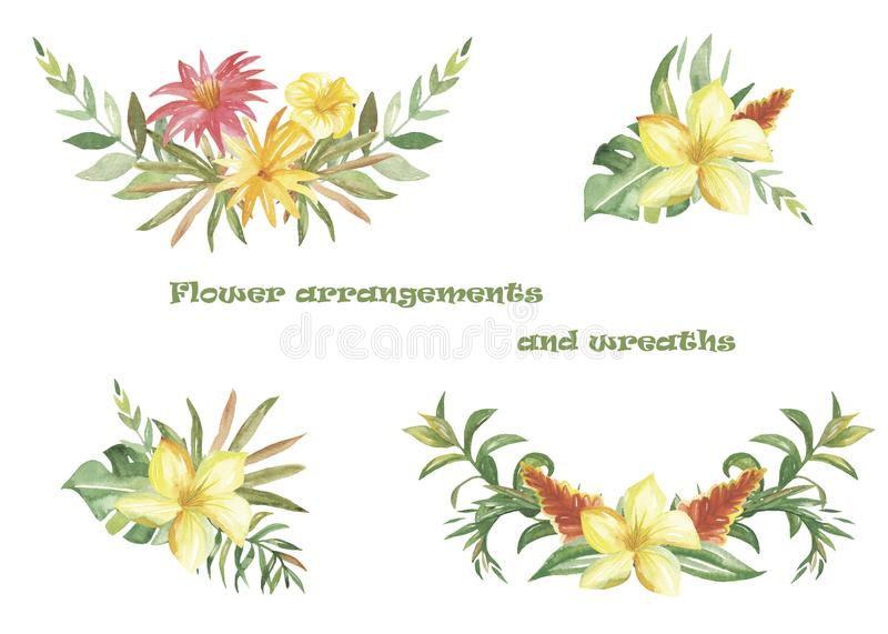 Watercolor set of wreaths and compositions with tropical flowers and plants. Beautiful bouquets for cards, invitations, greeting cards, weddings, prints stock illustration