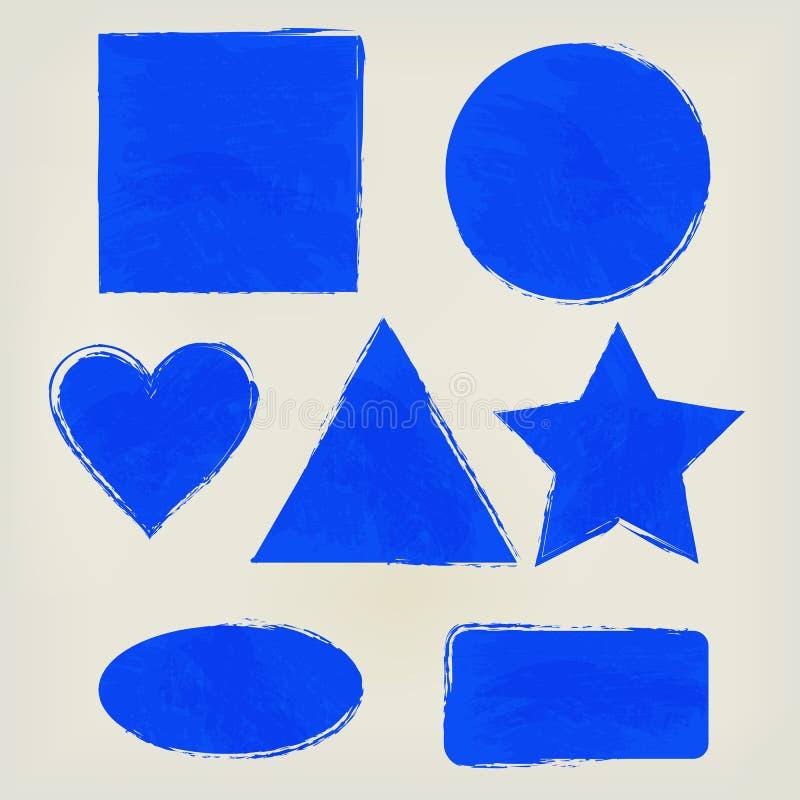 Watercolor shapes splashes triangle, circle, heart, ellipse, rectangle, square, star indigo. Painted design elements. royalty free illustration