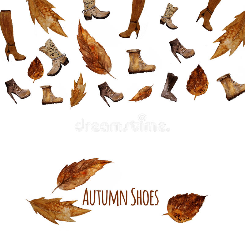 Watercolor Shoes set .Autumn style. Hand painted stock illustration