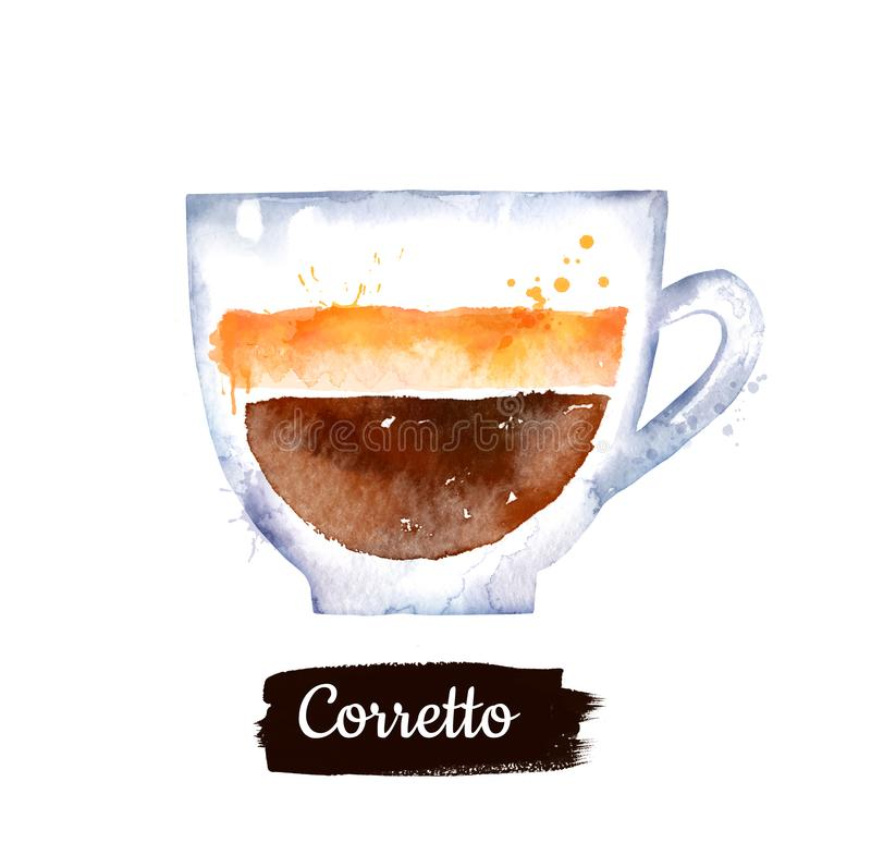 Watercolor side view illustration of Corretto coffee royalty free illustration