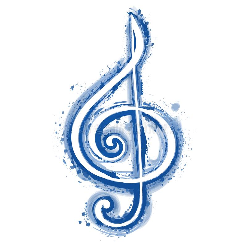 Watercolor sign treble clef for a musical concert poster. Illustarion stock illustration