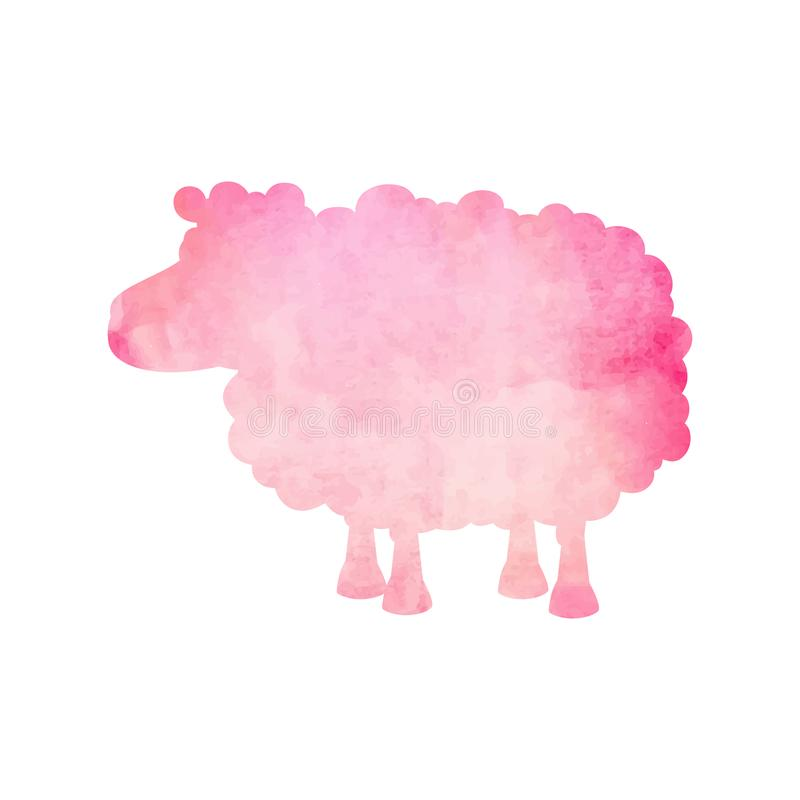 Free Watercolor Silhouette Of A Pink Sheep On An Isolated Background. Vector Royalty Free Stock Photos - 118105098