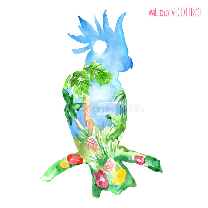 Watercolor silhouette of a parrot with a tropical view stock illustration