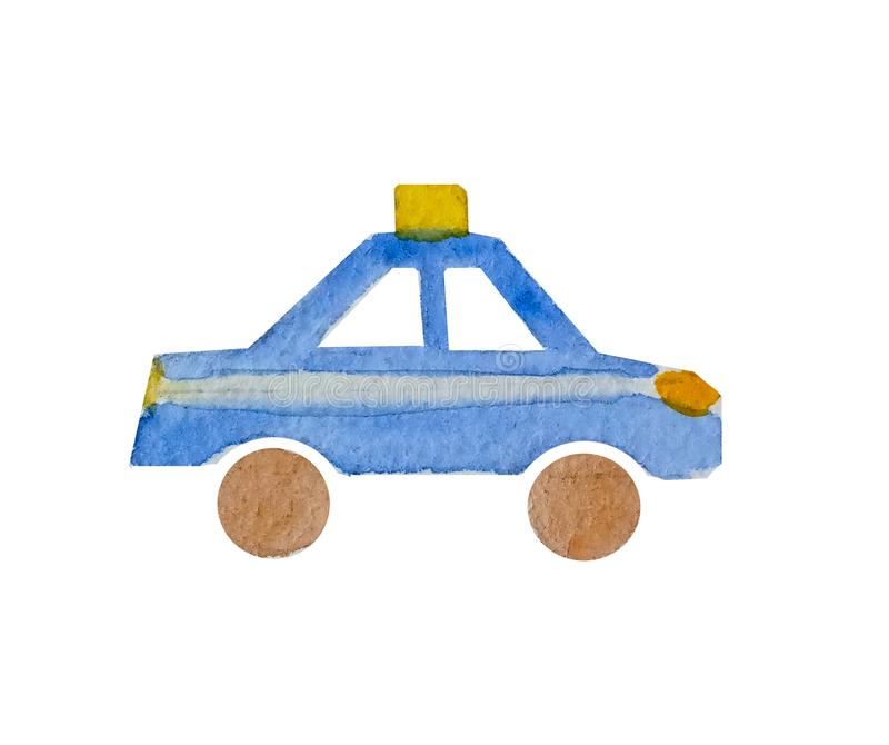 Watercolor silhouette of a toy car police on a white background isolated. stock illustration