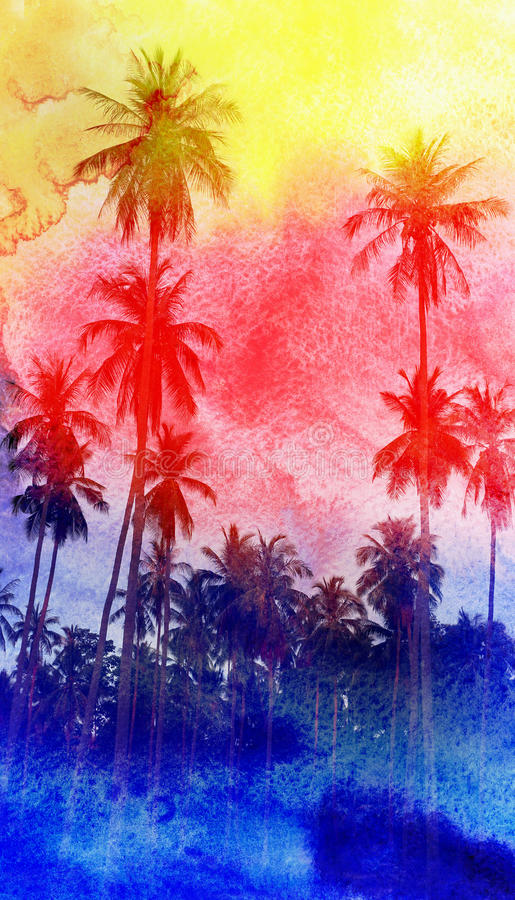 Watercolor silhouettes of palm trees. Colorful retro colorful watercolor silhouettes of palm trees stock illustration