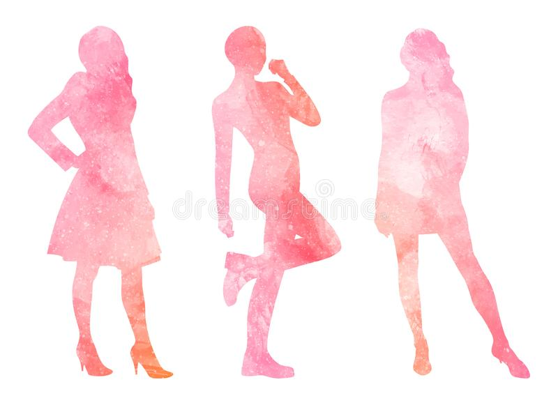 Watercolor silhouettes of women stock illustration