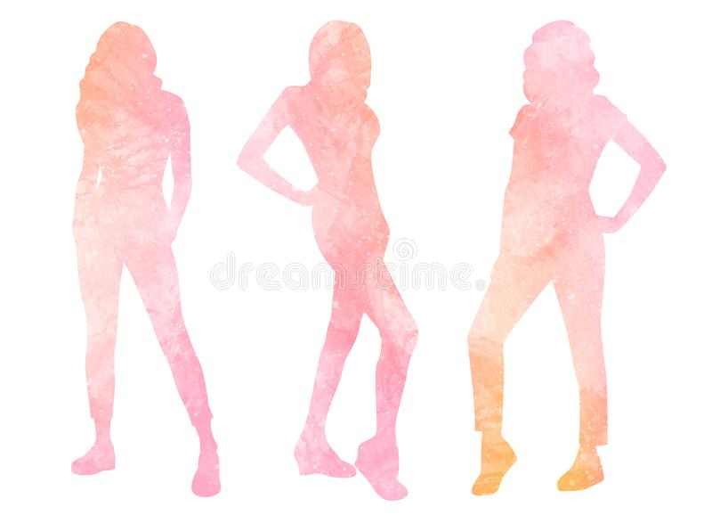 Watercolor silhouettes of women vector illustration
