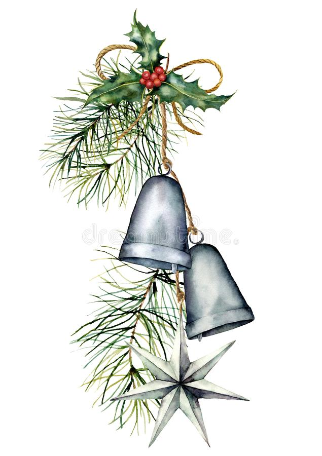 Watercolor silver Christmas bells garland with holiday decor. Hand painted traditional bells with holly, star and vector illustration