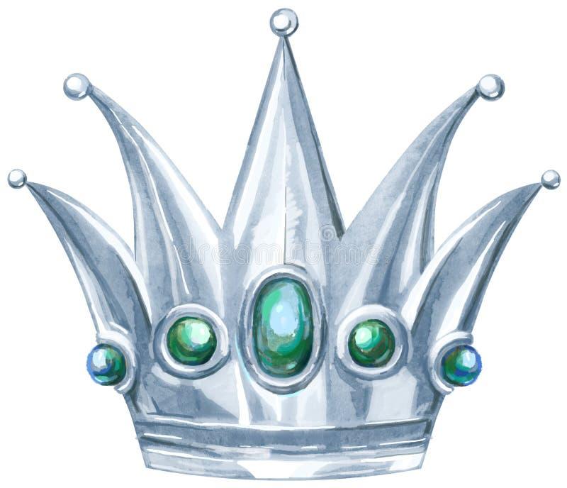 Watercolor silver crown Princess with precious stones royalty free illustration