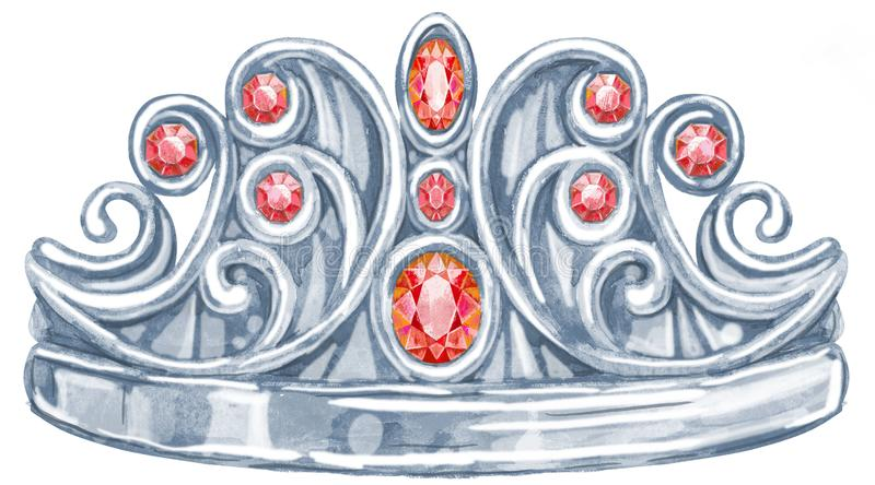 Watercolor silver crown Princess with precious stones ruby royalty free illustration