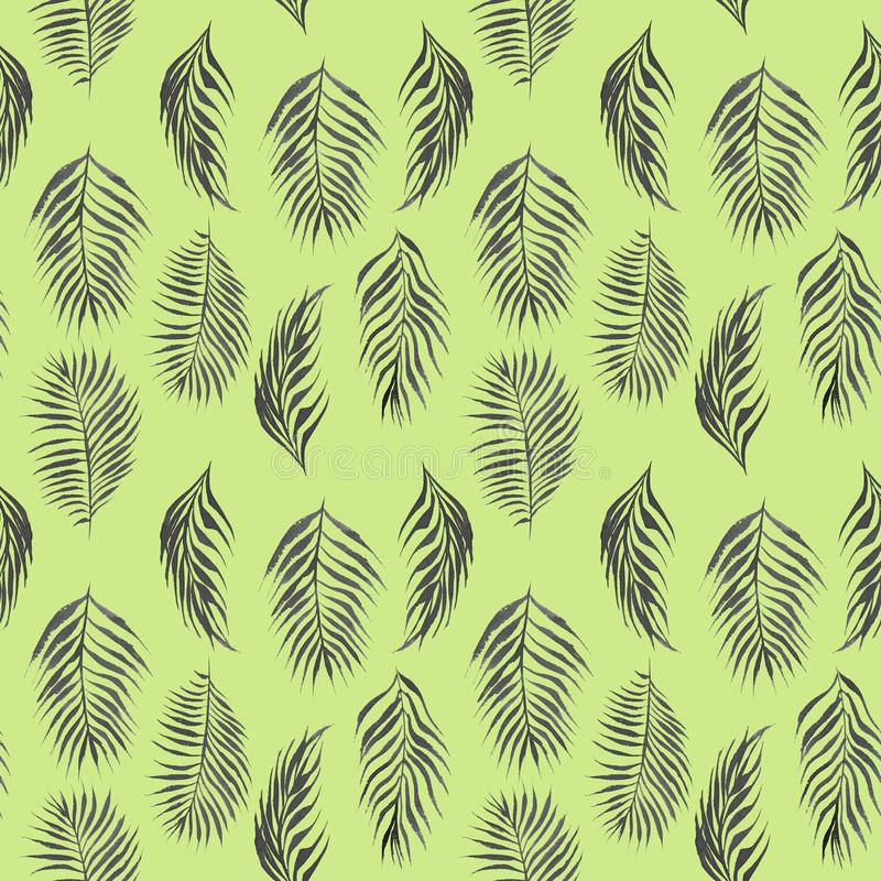 Watercolor simple floral tropical seamless pattern with black palm tree leaves. Hand drawn watercolor simple floral tropical seamless pattern with palm tree royalty free illustration