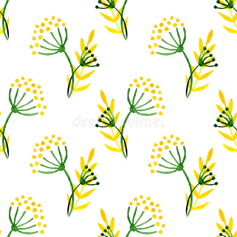 Watercolor simple herbal seamless pattern. Background with corolla flower dill. vector illustration