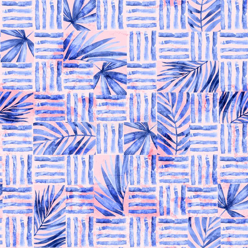 Watercolor simple seamless pattern. Blocks of tropical leaves and lines background. Hand painted geometric illustration of blue palm leaf and brush strokes royalty free stock image
