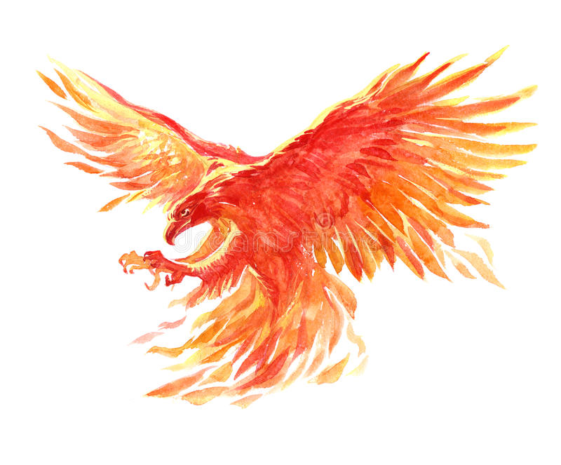 Watercolor single character mystical mythical character phoenix isolated vector illustration