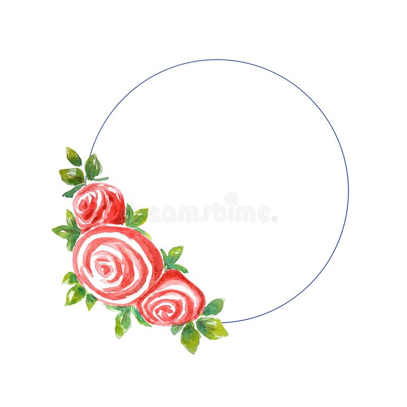 Watercolor single one bush of three roses with leaves in the form of  round frame, wreath on a white background,/ stock illustration