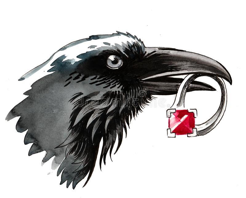 Raven with ring vector illustration