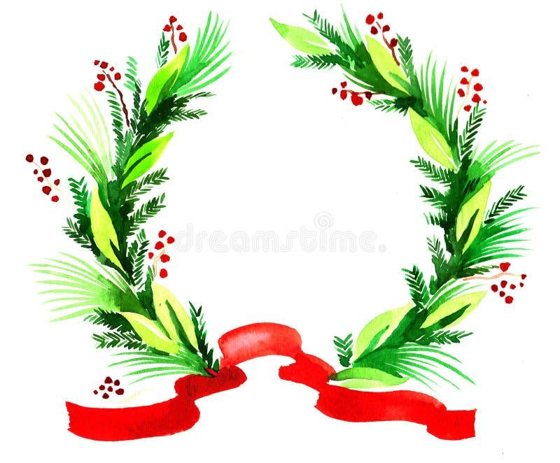 Christmas wreath stock illustration