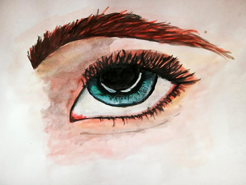 Watercolor sketch, eye on white background royalty free illustration