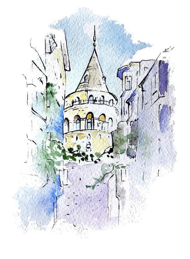 Watercolor sketch of Galata Tower, Istanbul, Turkey vector illustration