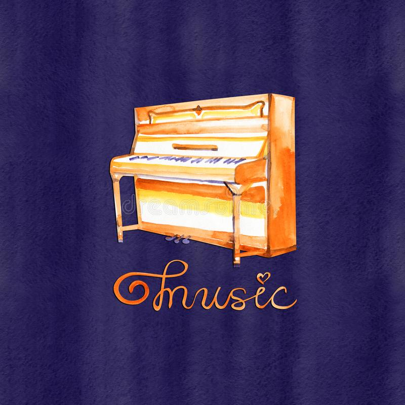 Watercolor sketch grand piano. Jazz illustration. Music lettering stock illustration