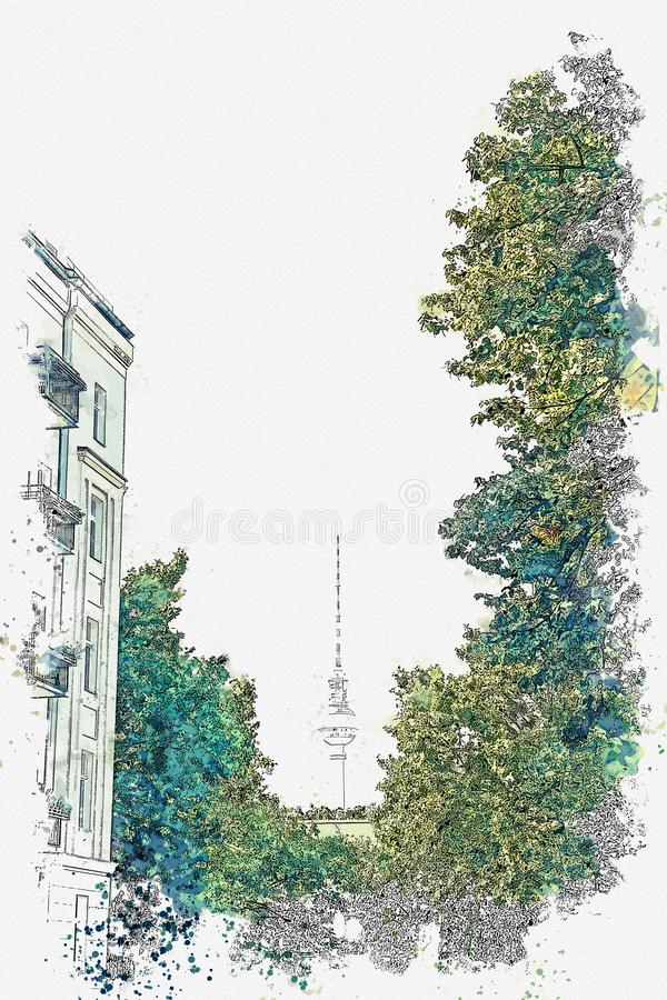 Watercolor sketch or illustration of a beautiful view of the TV tower among the trees and the street in Berlin vector illustration